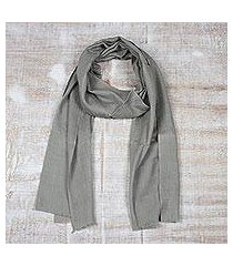 men's wool and silk scarf, 'kashmir olive' (india)
