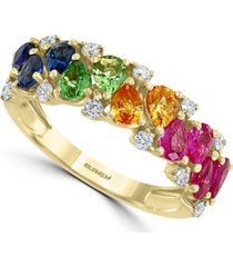 effy multi-gemstone (1-7/8 ct. t.w.) & diamond (1/4 ct. t.w.) ring in 14k gold