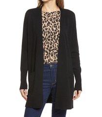 women's halogen open front cardigan, size xx-large - black