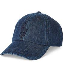 polo ralph lauren men's pony denim baseball cap