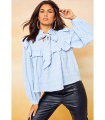 blouse met hoge kraag en strik, lichtblauw
