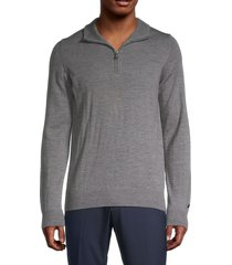 j. lindeberg men's kian tour merino wool quarter-zip sweater - grey - size xl