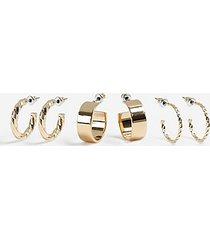 *pack of 3 hoop earrings - gold
