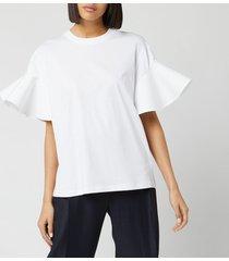 victoria, victoria beckham women's flounce sleeve t-shirt - white - l
