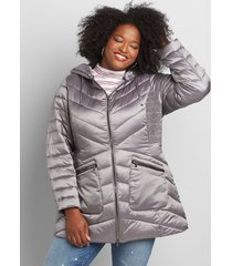 lane bryant women's shirred-side packable puffer jacket 10/12 charcoal