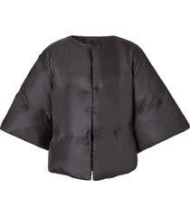 burberry silk twill puffer cape - black