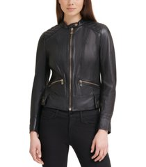 guess quilted-shoulder leather jacket, created for macy's