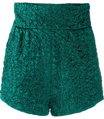 saint laurent crocodile satin effect shorts - green