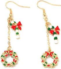 christmas candy cane wreath earrings
