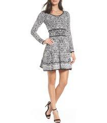 women's fraiche by j intarza fit & flare sweater dress, size medium - black