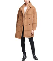 calvin klein double-breasted faux-fur teddy coat