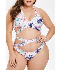 floral print plus size criss cross bikini set