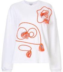 mira mikati monster tassel sweatshirt - white