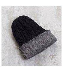 reversible 100% alpaca hat, 'warm and cozy' (peru)
