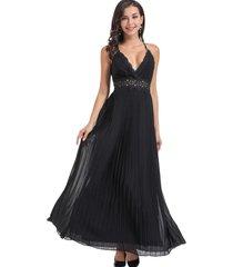 vestido fiesta plisado negro nicopoly