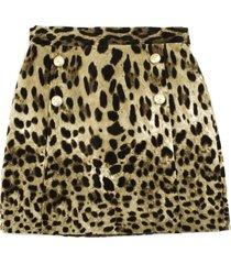 dolce & gabbana short skirt in leopard print velvet