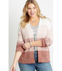 maurices plus size womens pink colorblock cable knit open front cardigan