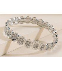 brandi pave stretch bracelet - silver