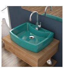 cuba de apoio p/banheiro compace aria rt50w retangular azul turquesa