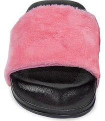 luxe faux fur faux fur slides/size 5-6 - pink faux - size 5-6