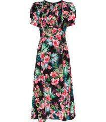 les rêveries hibiscus print midi dress - black