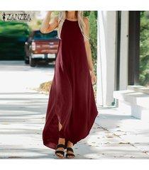 zanzea vestido de chaleco holgado de gran tamaño sin mangas sin tirantes kaftan de verano para mujer -rojo