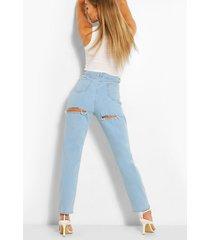 high waist back rip jeans, light blue
