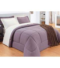 edredom natura cama solteiro cor lilas em malha penteada 30-1 em manta siliconada - 01 peça - edredom natura - bernadete casa..