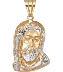 men's christ head pendant in 14k yellow