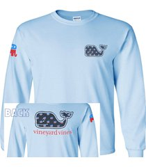 vineyard vines,republican, replica, long sleeve t-shirt, t-1171ltblue