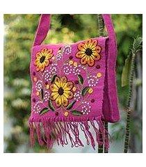 wool shoulder bag, 'sunflower sisters' (peru)