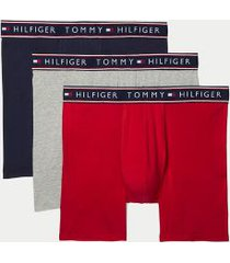 tommy hilfiger men's cotton stretch boxer brief 3pk red/dark navy/grey - l