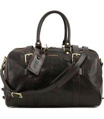 tuscany leather tl141249 tl voyager - borsa da viaggio in pelle con fibbie - misura piccola testa di moro