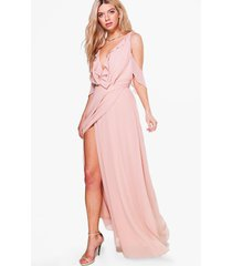chiffon frill wrap maxi bridesmaid dress, blush