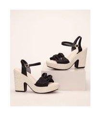 sandália feminina moleca meia pata salto alto preto