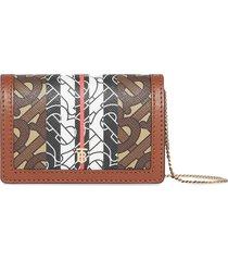 burberry monogram stripe card case - brown