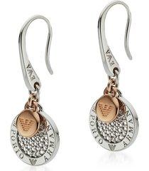 emporio armani designer earrings, two-tone signature earring
