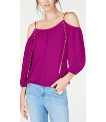 inc cold-shoulder chain-detail top, created for macy's