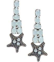 black rhodium-plated sterling silver, aquamarine & diamond starfish drop earrings