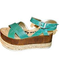 sandalia de cuero verde tamara shoes
