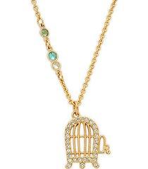 goldtone swarovski crystal cage pendant necklace