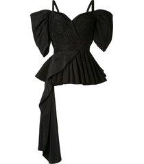 alexander mcqueen drop sleeve pleated bustier top - black