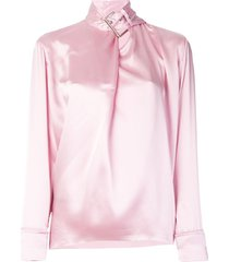 marques'almeida satin buckle-neck blouse - pink