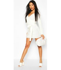 ribbed wrap belted knitted dress, ivory