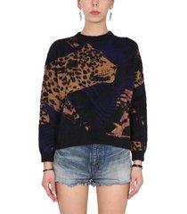 saint laurent sweater with jungle leopard lamé motif