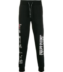 philipp plein rhinestone logos track pants - black
