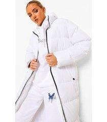gewatteerde maxi jas met hoge kraag, white