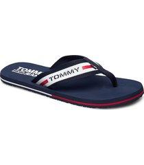 tommy jeans beach sa shoes summer shoes flip flops blå tommy hilfiger