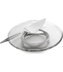 nambe 2-pc. braid glass cake plate & server set