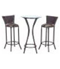 conjunto bistrô mesa alta e 2 banquetas moscou pedra ferro a36 para cozinha edicula bar varanda